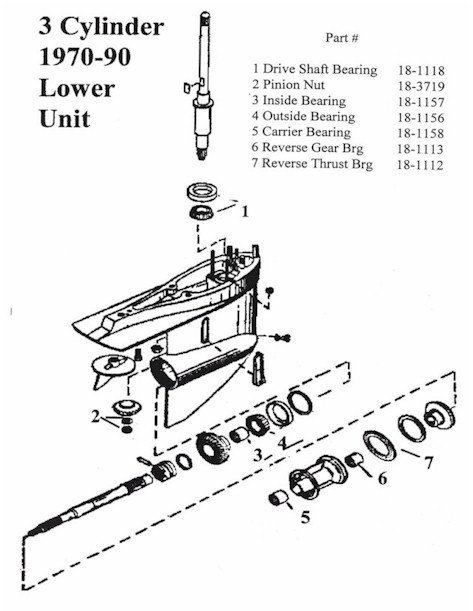1977 85hp Johnson Wiring Diagram 3 Cylinder Mercury Outboard Lower Unit Display Page