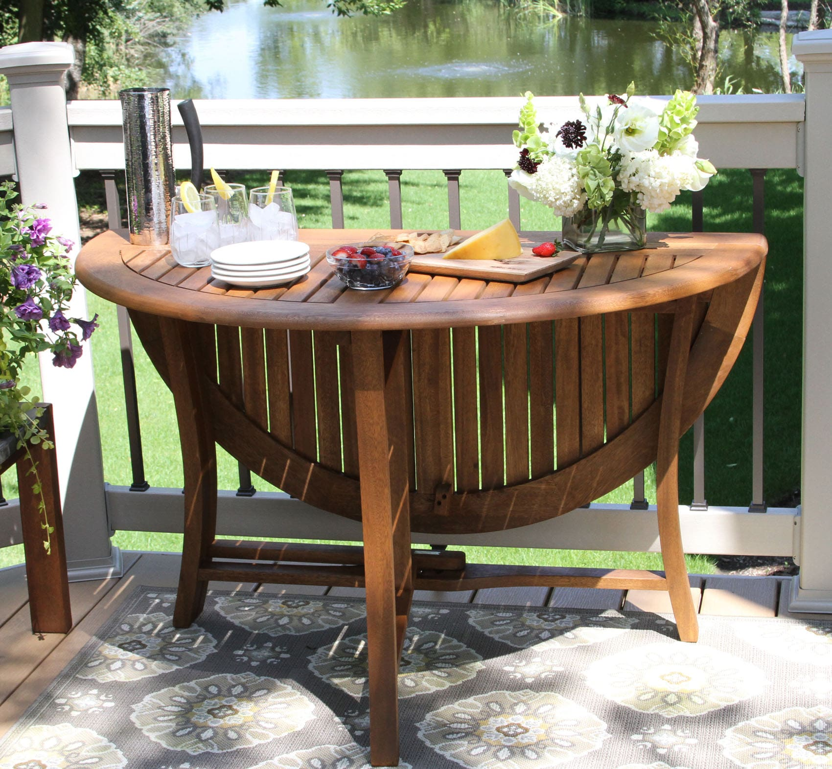 43 Quot Round Eucalyptus Hardwood Folding Table With Umbrella Hole - Garden Furniture Clearance Parasols