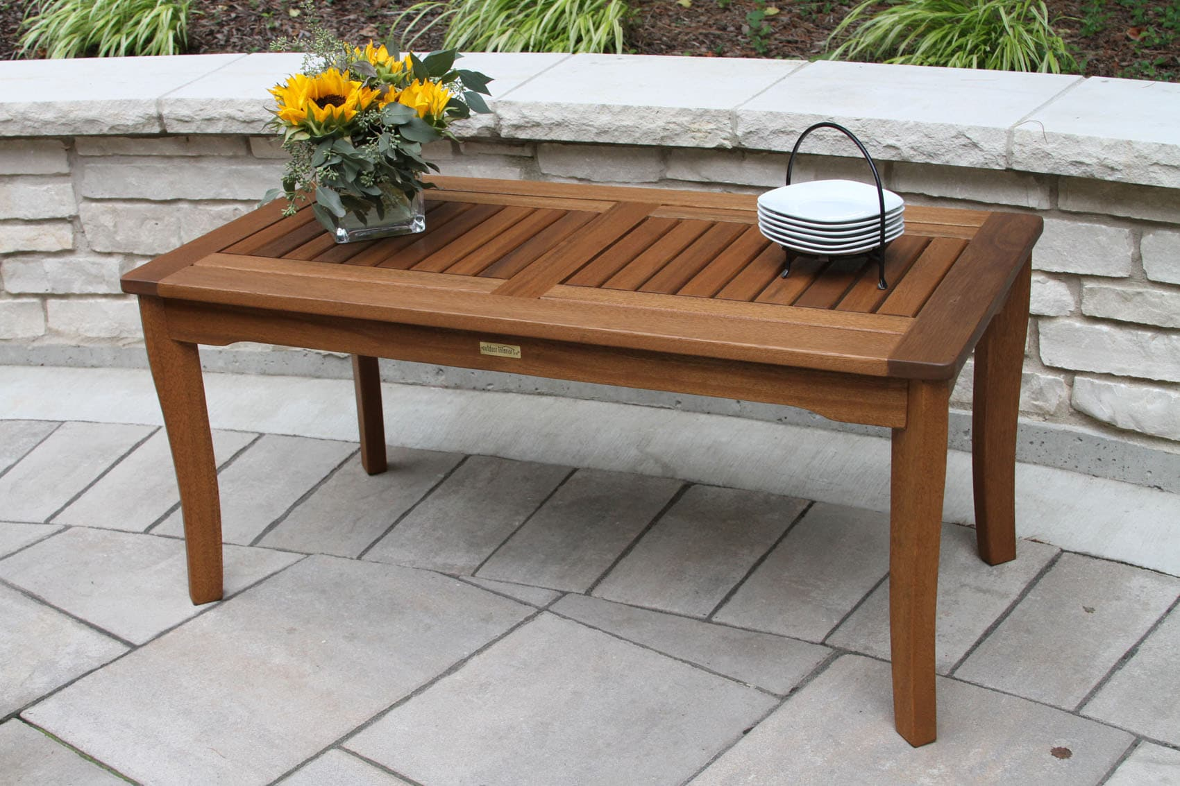 Curved Coffee Table Eucalyptus Wood Coffee Table For Decks, Patios, Gardens