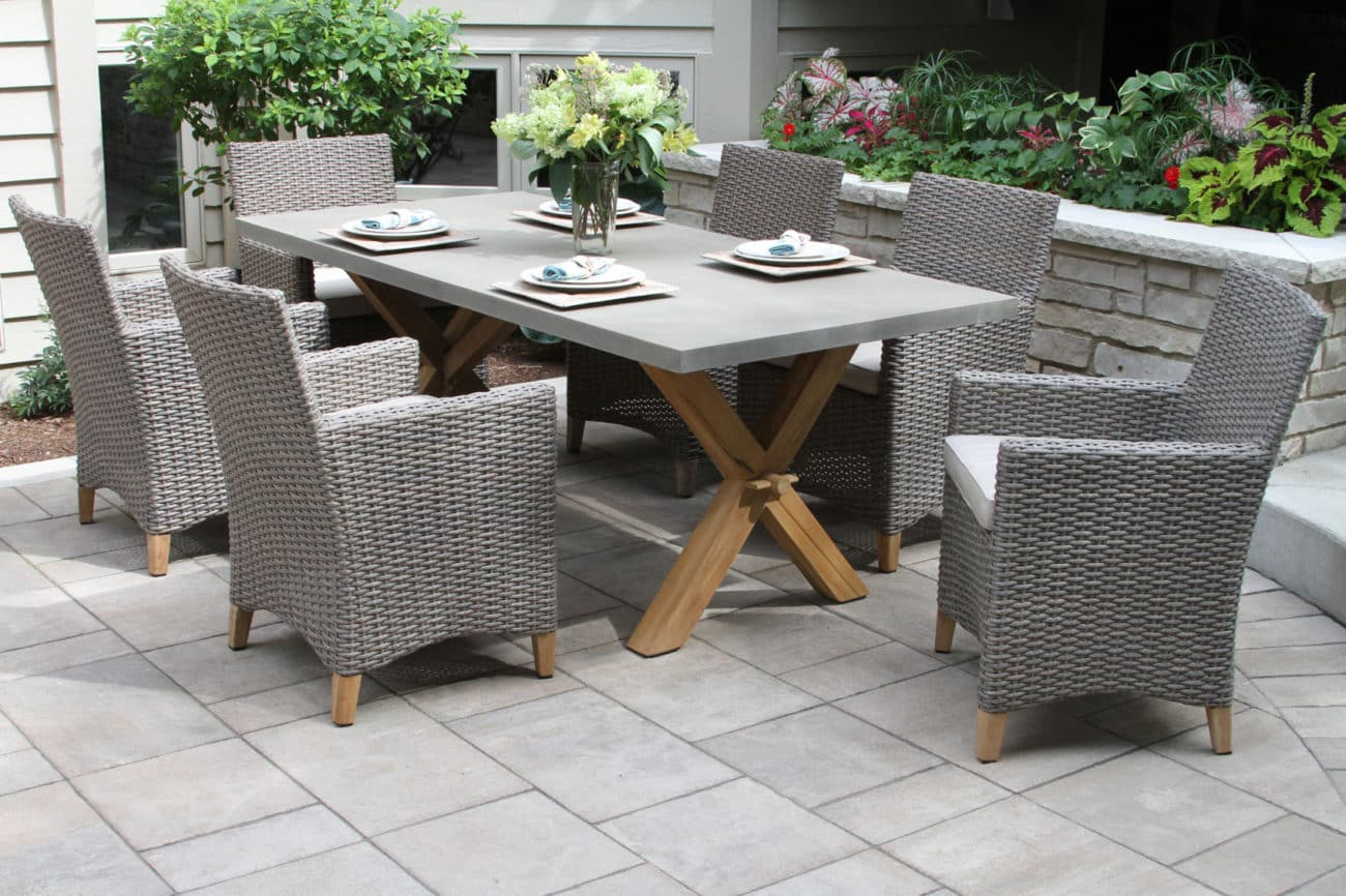 Grey Outdoor Wicker Dining Chairs Wicker Patio Set With Fire Pit