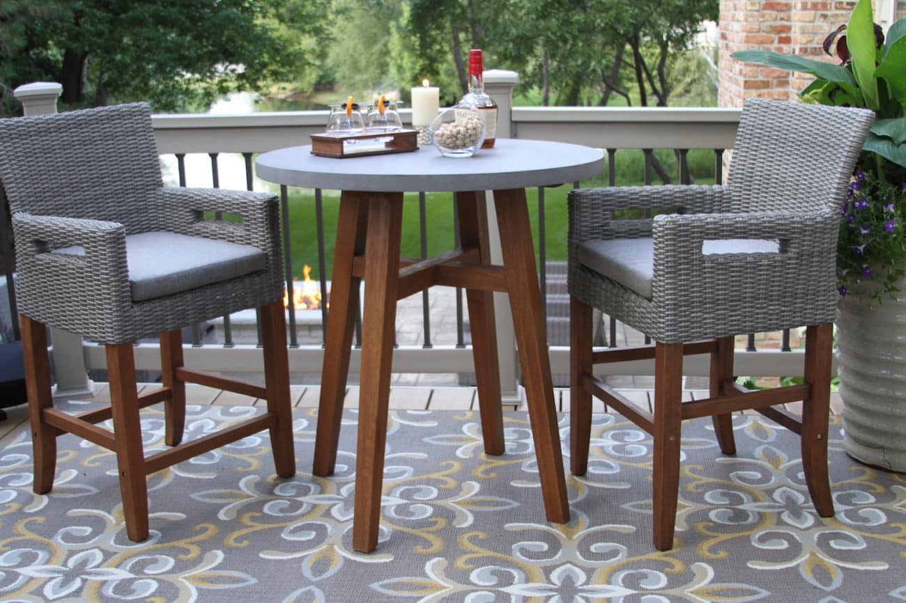 Round Counter Height Composite Top Eucalyptus Wood Table