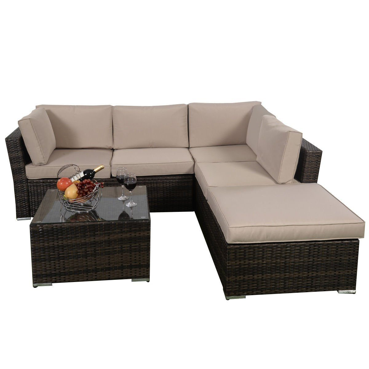 Outdoor Couch Set Giantex 4pc Patio Sectional Furniture Pe Wicker Rattan