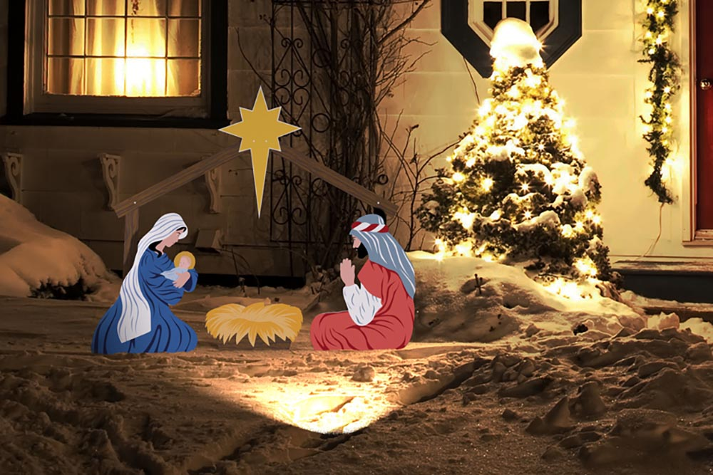 outdoor christmas nativity sets lighted