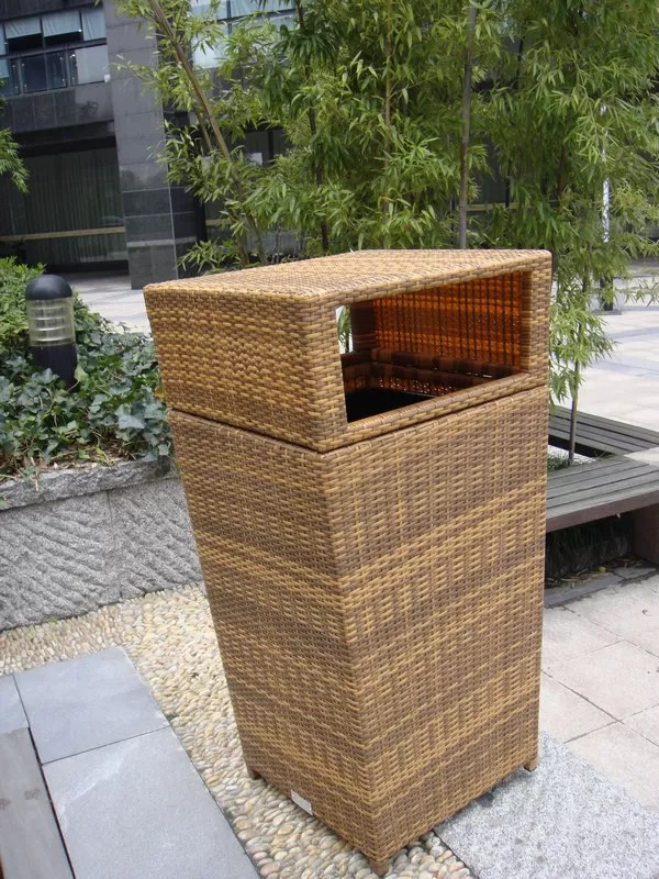 Mülleimer Box Outdoor Rattan Furniture Trash Bin For Park / Bistro