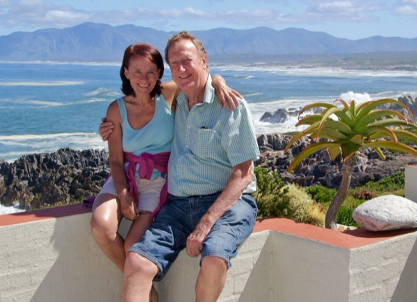 Hermanus overlooking the whale birthing area in South Africa with partner Dr Anne Moir