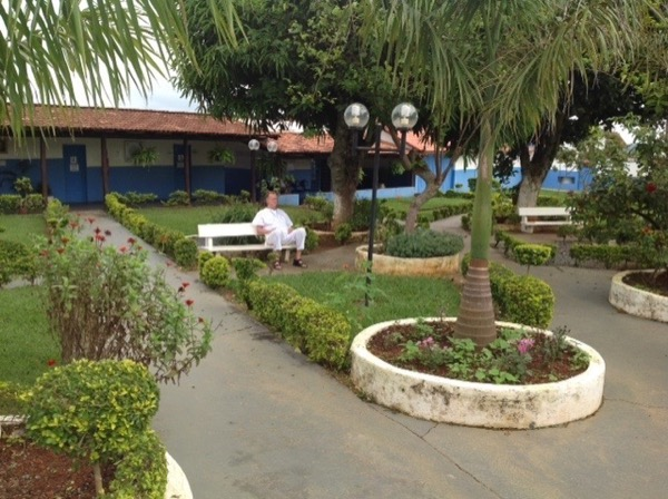 Meditating in the gardens of Casa dom Ignacio, Brazil