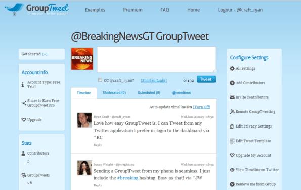 GroupTweet tableau de bord