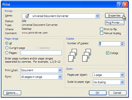 Convert Outlook to PDF / Universal Document Converter / Outlook to