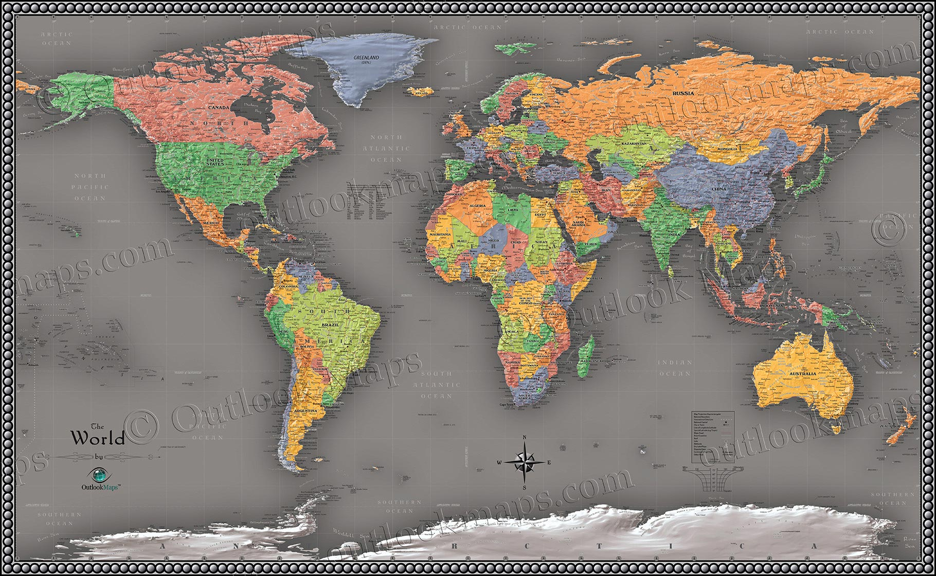 World Map Decorations World Cool Color Map
