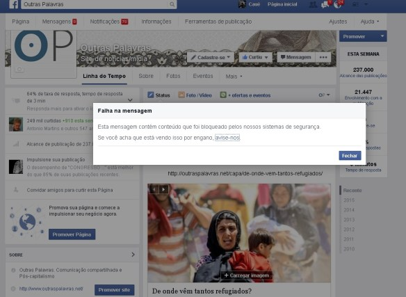 facebook censura