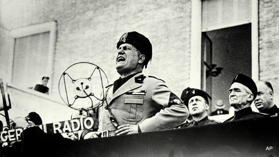 Benito Mussolini, Italian dictator, speaks at the dedication ceremonies of Sabandia, central Italy, on Sept. 24, 1934.  (AP Photo)