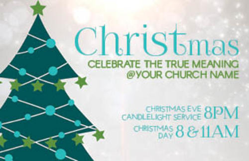 Teal Tree Christmas InviteCard - Church Invitations - Outreach Marketing