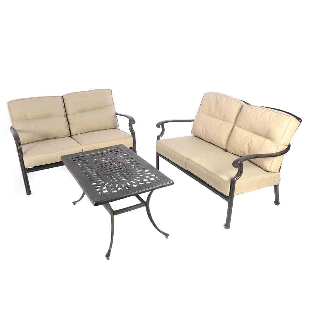Aluminium Lounge Fire Pit Grill And Ice 2 X Lounge Sofas And 39ice 39 Table