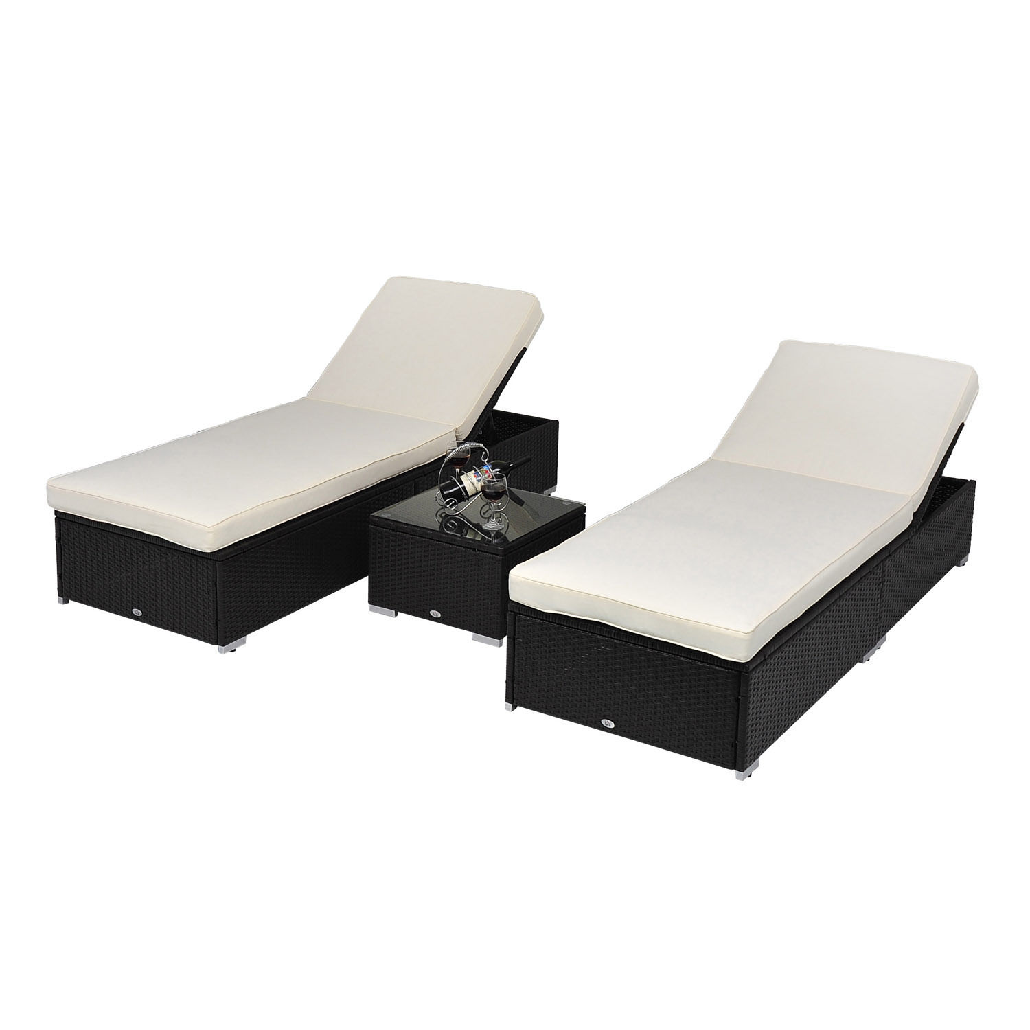 3 Pcs Outdoor Rattan Wicker Chaise Lounge Sofa Couch Patio