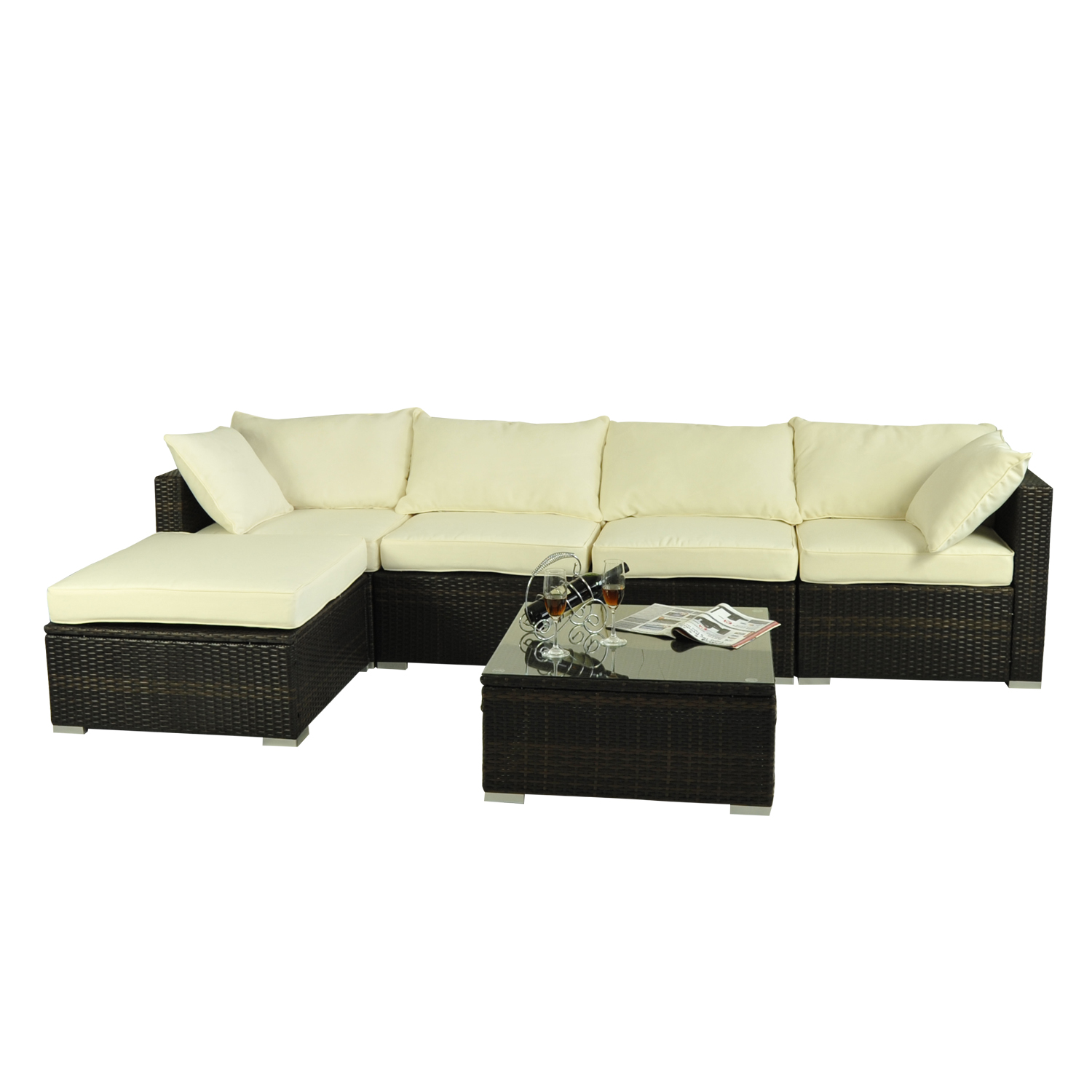 Rattan Sofa Set Ebay Outsunny 6pc Rattan Wicker Patio Sofa Set Sectional Garden