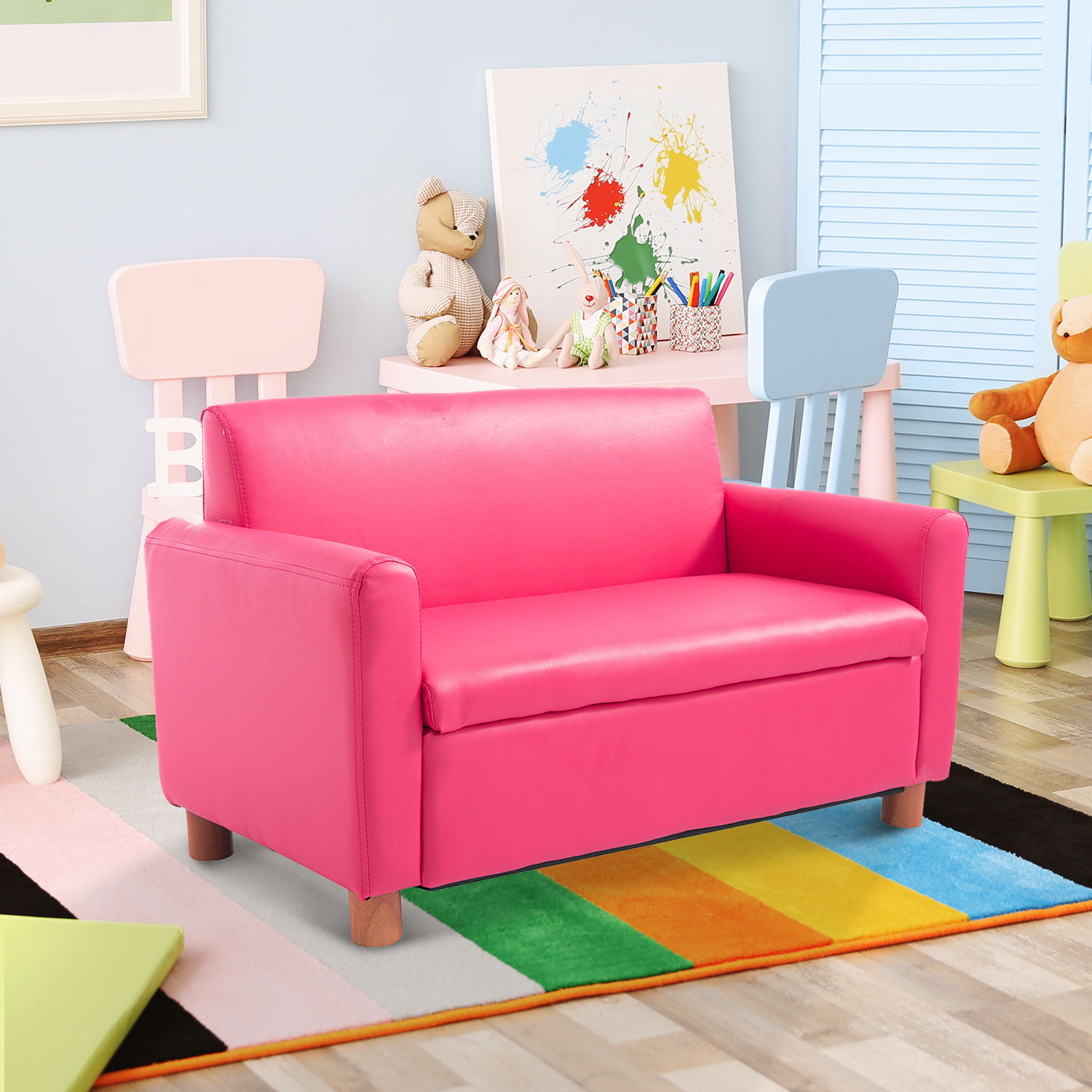 Toddler Couch Pink Double Kid Toddler Sofa Armchair Recliner Pu Leather