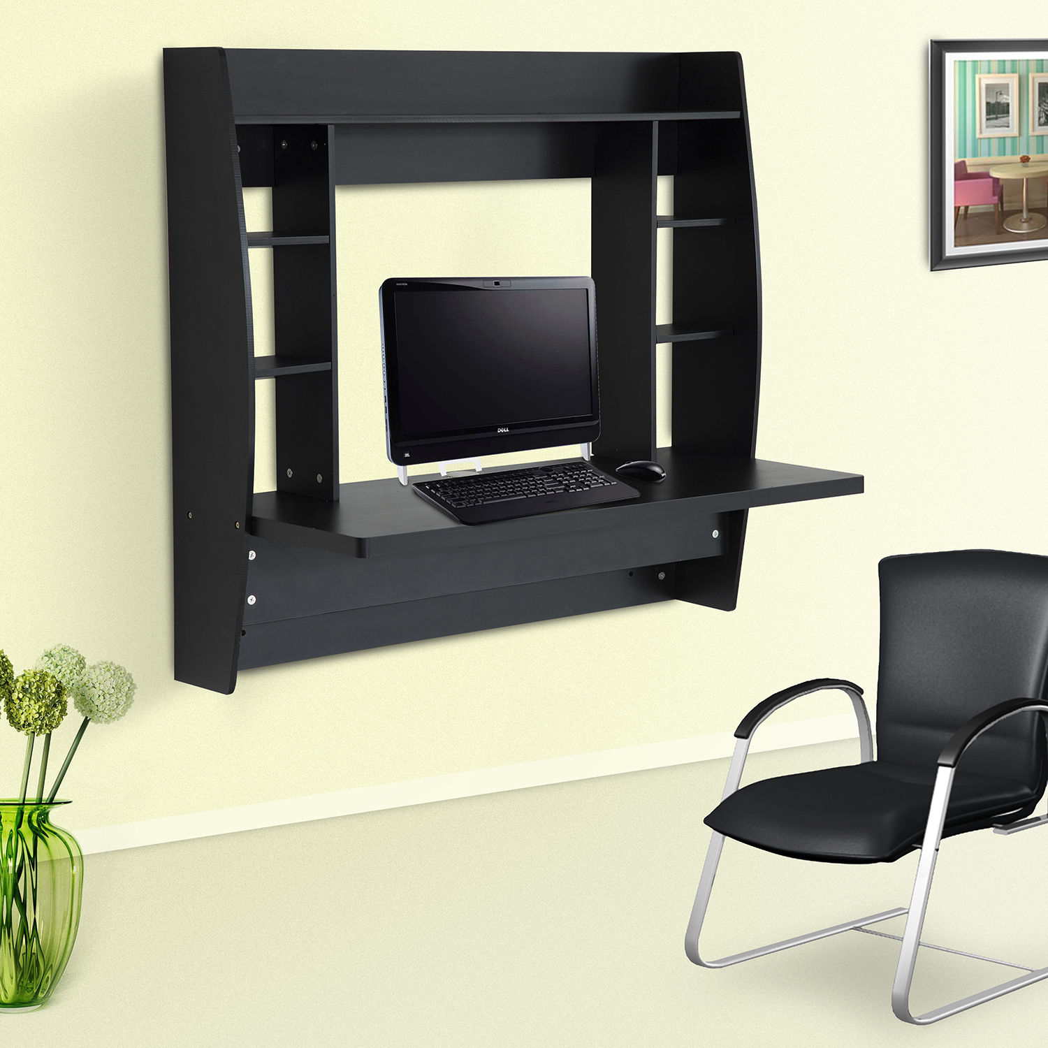 Wall Mount Office Desk Homcom Floating Wall Mount Office Computer Desk With