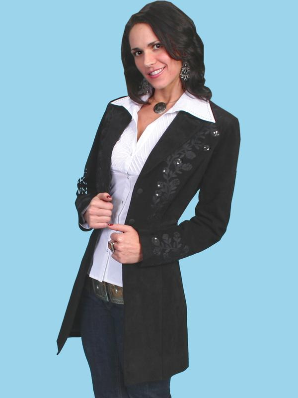 Blazers Womens A Scully Ladies' Leather Suede Jacket: Western Embroidered