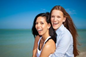 Lesbian couple laughing