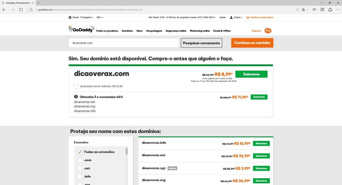 Acesse o site da GoDaddy e pesquise pelo domínio .COM que quer registrar.