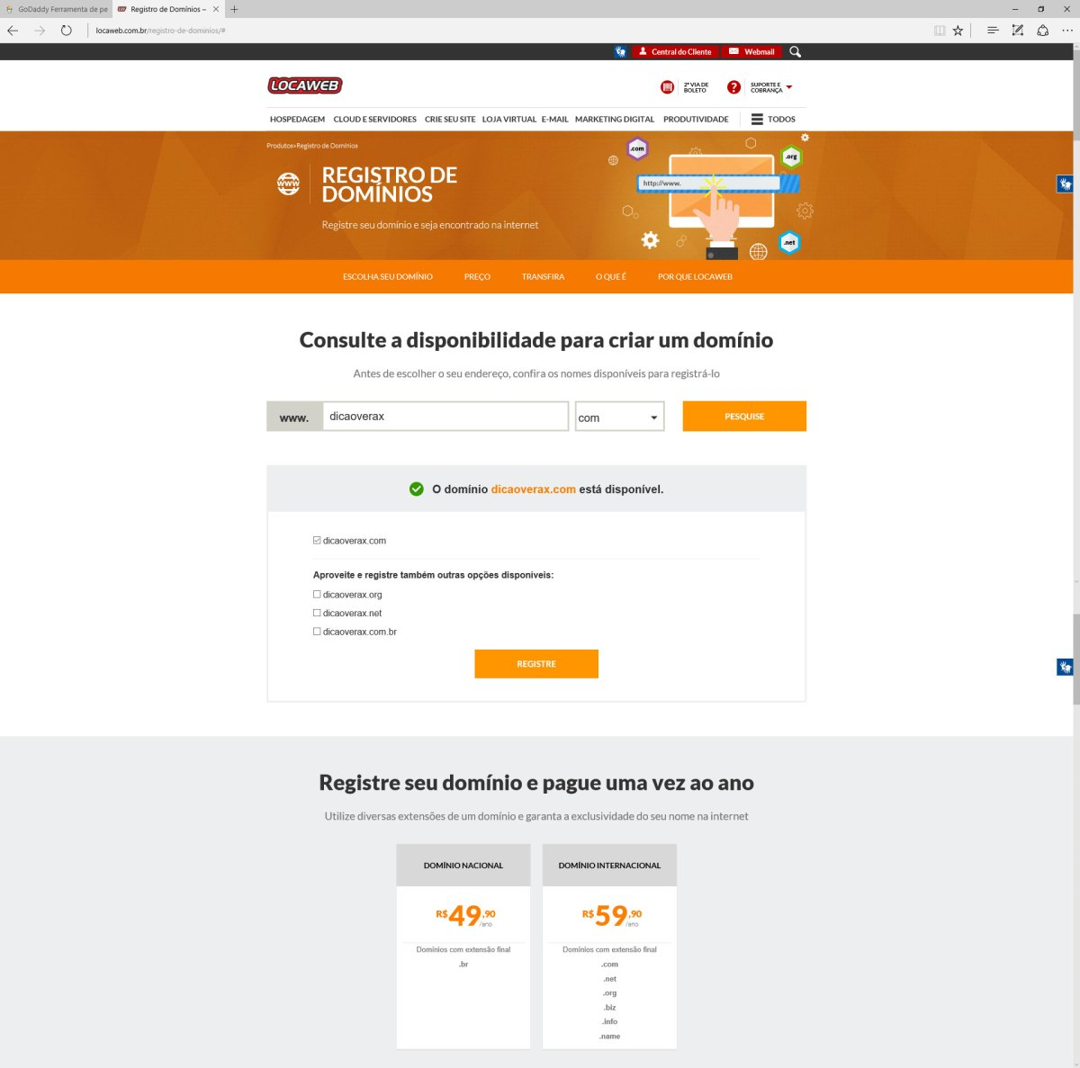 Valor do registro de domínio .COM na Locaweb 59,99