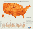 What % of the population lives in poverty in each U.S. county-