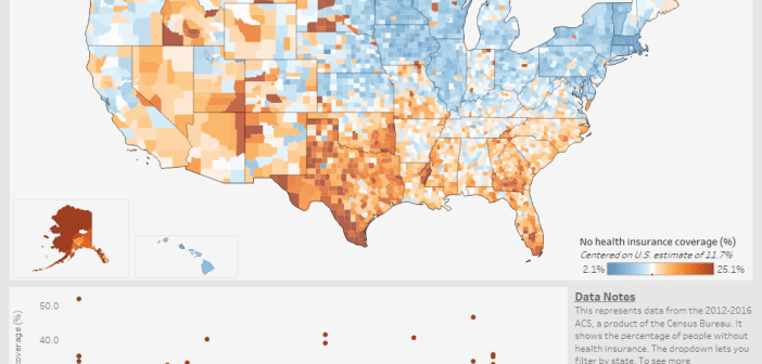 What percentage of people don't have health insurance in each U.S. county_