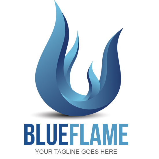 Blue Flame Logo Design - flame logo