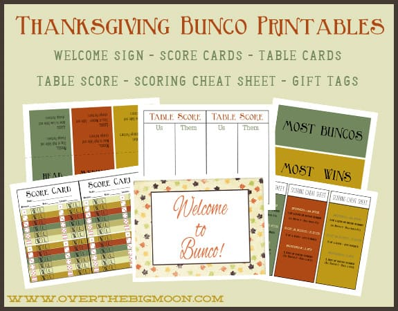 Thanksgiving Bunco Printables - bunco score sheets template