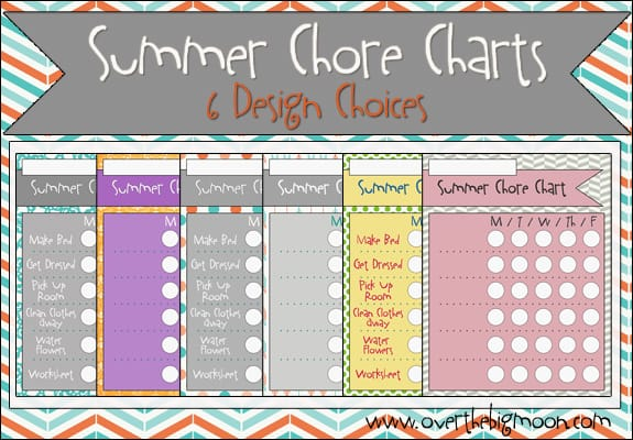 Summer Chore Charts - sample chore chart