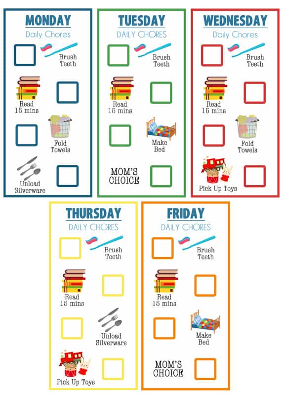 Little Kid Chore Charts (Ages 2-4) - Over The Big Moon - daily chore