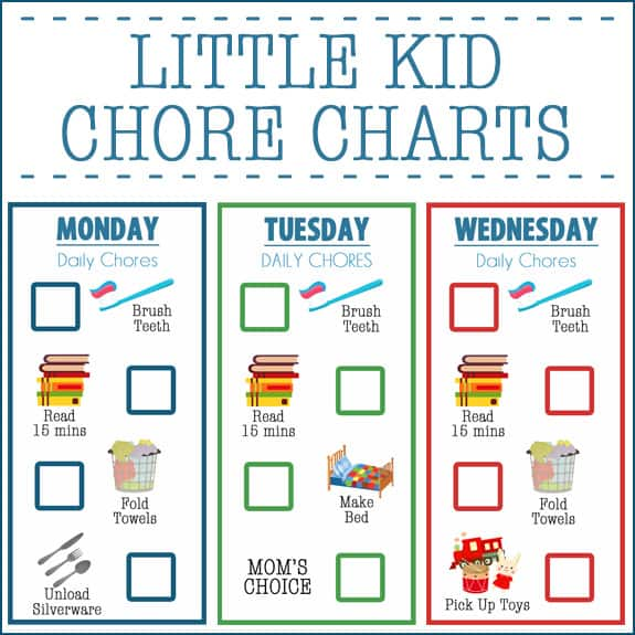 Little Kid Chore Charts (Ages 2-4) - Over The Big Moon - sample chore chart