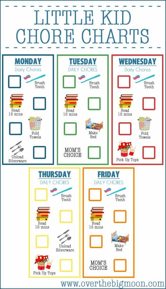 Little Kid Chore Charts (Ages 2-4) - Over The Big Moon