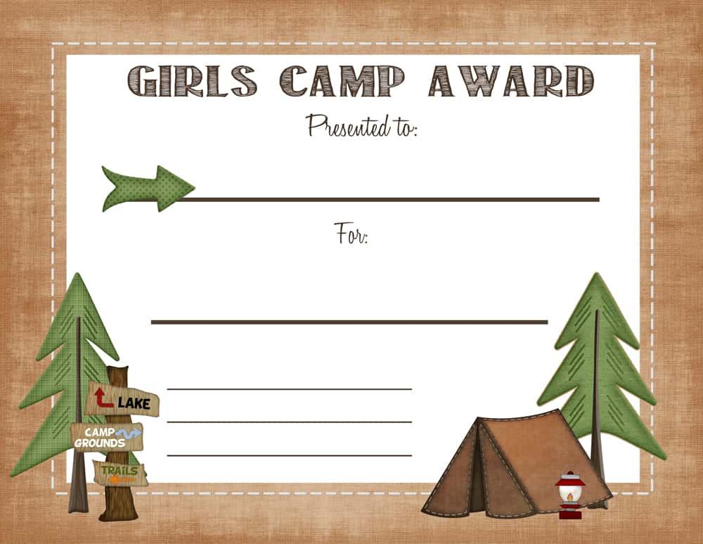 Free Printable Girls Camp Award Certificate - printable award templates