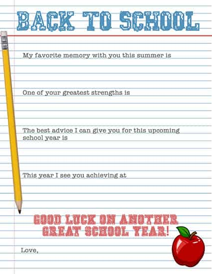 Back to School Note for Kids Lunches