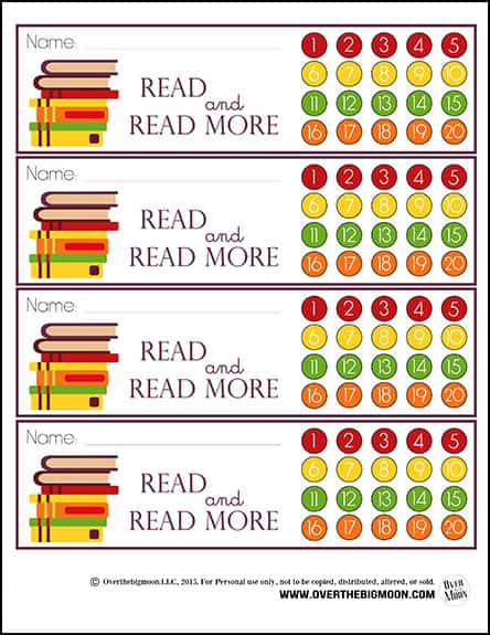 Reading-Bookmark-Punchcards - Over The Big Moon - punch cards
