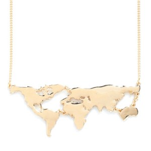 Map Necklace Gold