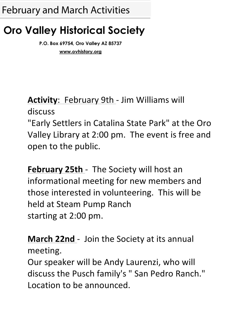 February and March Activities