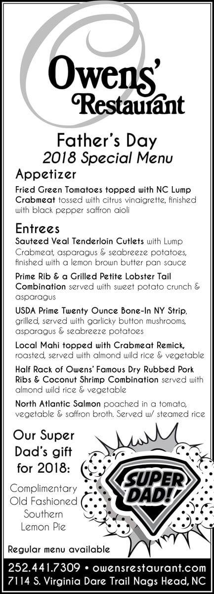Owens\u0027 Restaurant Menu - Nags Head Restaurant Serving Fine Coastal