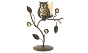 Wise Owl Ornamental Vine Candle Holder Stand.500