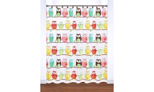 Cheerful Vinyl Owl Shower Curtain