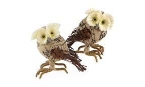 Adorable Burlap Owl Figurines (Set of 2).500