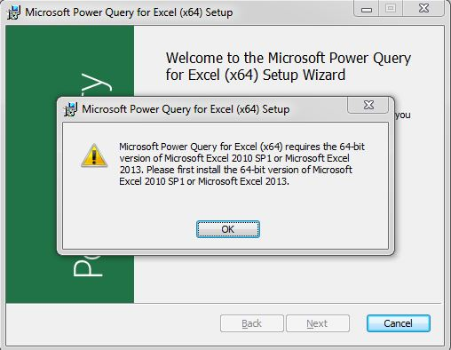 Error while installing Power Query addin for excel - Microsoft
