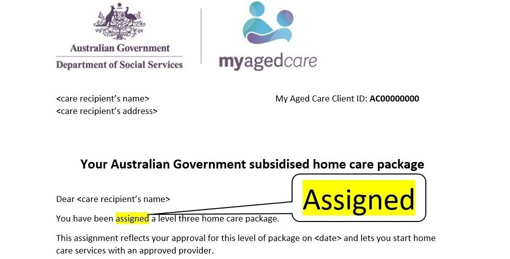Meaning of Receiving a Letter of Assignment from My Aged Care - assignment letter