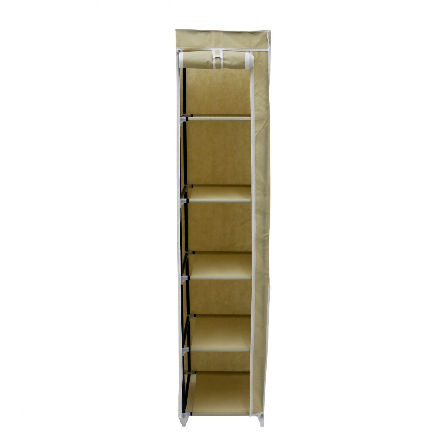 Double Hanging Wardrobe Double Cream Canvas Wardrobe Clothes Rail Hanging Storage