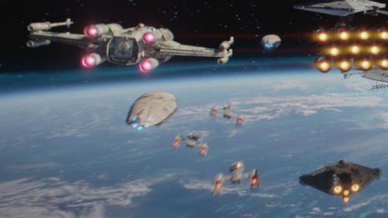Star Wars Rebels ship the Ghost (bottom right) as seen in Rogue One: A Star Wars Story .