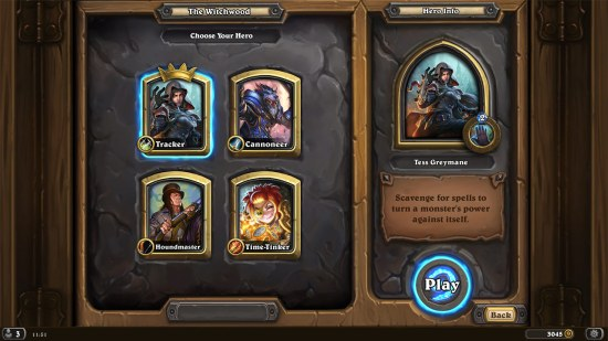 The new-look Witchwood character select screen.