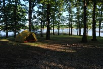 Late evening at Berry Bend Campground with sunlight falling between the trees on our MSR Mutha Hubba Tent .