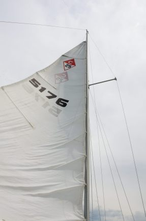 Catalina 25 mainsail - reefed (badly)