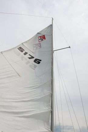 Photograph of the reefed main sail of the sail boat Cornucopia, on Stockton Lake in the Missouri Ozarks
